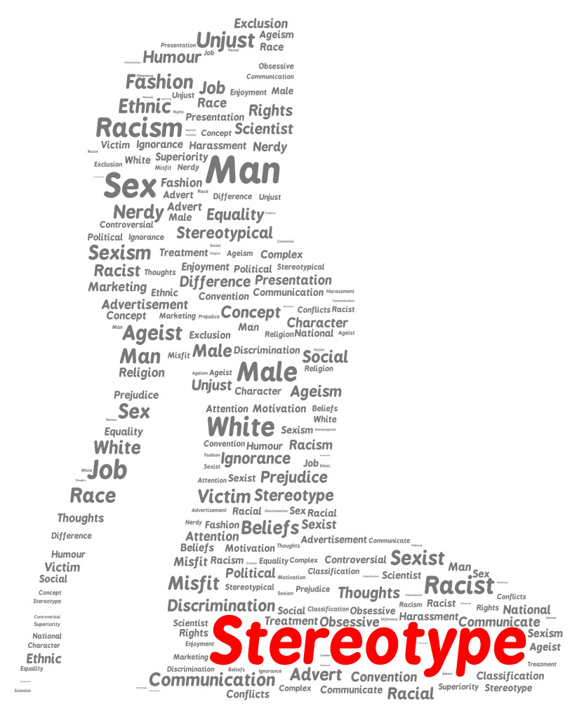 Stereotype word cloud shape concept